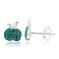 925 silver Crystal White and Green stud Apple Earring