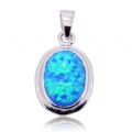 Silver Natural Opal Gemstone Pendant