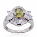 Rings in 925 silver Green Olive CZ and Clear CZ