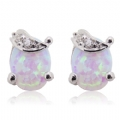 Silver Natural Opal Gemstone Stud Earrings