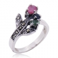 Natural Gemstone Marcasite Silver Rings