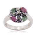 Natural Gemstone Marcasite Silver Ring