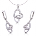 925 Silver Earring and Pendant Heart Set