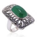 925 Sterling silver with Green Aventurine Marcasite Ring