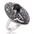 925 Sterling silver with Black Onyx Marcasite Ring