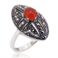 925 Sterling silver with Red Coral Marcasite Ring
