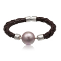 Silver purple Pearl Brown Leather Fashion Bangle