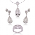 925 Silver CZ Earring Pendant Ring Set