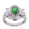 Ring in 925 silver Green and Clear CZ