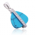 925 silver Turquoise and Clear CZ Stone Pendant