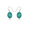 Silver Synthetic Turquoise Hook Earrings