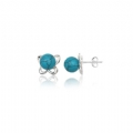 Silver Synthetic Turquoise Stud Earrings