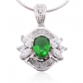 Pendant in 925 silver Green and Clear CZ