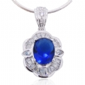Pendant in 925 silver Blue Sapphire and Clear CZ