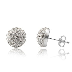 6mm 12mm Clear Swarovski Crystal Half Ball Earring