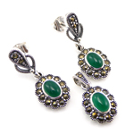 925 Sterling Silver Earring Pendant Green Agate Set