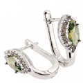 925 silver Olive Green CZ with Clear Stone Earring