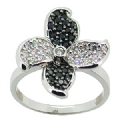 Sterling Silver Clear And Black Cubic Zirconia Flower Ring