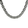 Mens Oxidized Silver 8mm Bali  Necklace 22 inch