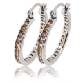 2.5 x 40 mm Sterling Silver Cubic Zirconia Hoop Earrings