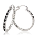 2 x 30 mm Sterling Silver Cubic Zirconia Hoop Earrings