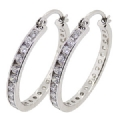 3 x 25 mm Sterling Silver Cubic Zirconia Hoop Earrings