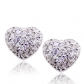 Clear CZ Silver Stud Heart Earrings