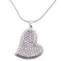925 sterling silver clear CZ Heart Pendant