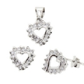 925 Silver clear CZ Earring and Pendant Heart Set