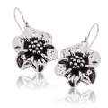 925 sterling Silver oxidized Flower Earrings