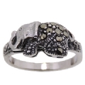925 Sterling Silver Diamond Cut Marcasite Elephant Ring