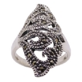 925 Sterling Silver Diamond Cut Marcasite Ring