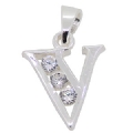 925 sterling Silver Cubic Zircoina Initial V Pendant