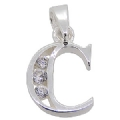925 sterling Silver Cubic Zircoina Initial C Pendant