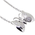 Silver CZ Butterfly Pendant Necklace 18 Inches