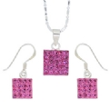 Silver set Pink Swarovski Crystal, silver Chain 16 Inches