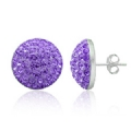 6MM - 12MM Amehtyst Swarovski Crystal Half ball Earring
